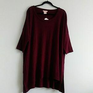 Sweet Romeo Buegundy size 3X Short Sleeve Blouse